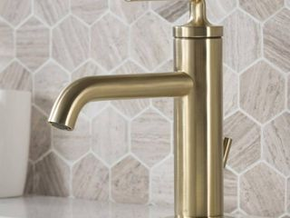 KRAUS Ramus Single Hole Single Handle Bathroom Faucet with Matching lift Rod Drain in Brushed Gold