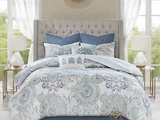 Madison Park Reversible 100  Cotton Comforter Season Set  Matching Bed Skirt  Decorative Pillows  King  Isla  Floral Medallion Blue