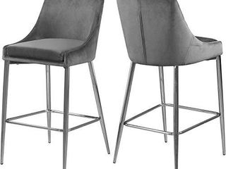 Meridian Furniture Karina Collection Modern Contemporary Velvet Upholstered Counter Stool with Polished Chrome Metal legs and Foot Rest  Set of 2