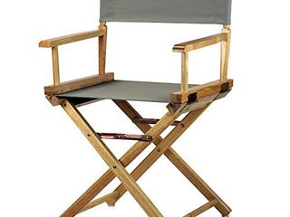 Casual Home 18 inch Director s Chair Natural Frame with Grey Canvas