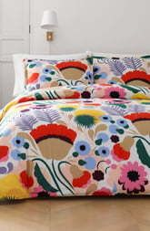 Marimekko Ojakellukka Comforter  amp  Sham Set  Size Full Queen   Blue