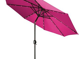 Trademark Innovations Deluxe Solar Powered lED lighted Patio Umbrella  9Ft  Pink