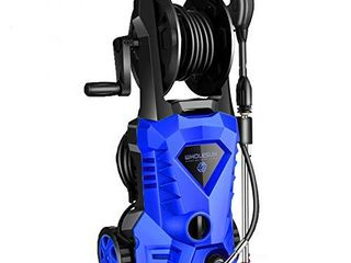 WHOlESUN 3000PSI Electric Pressure Washer 2 4GPM 1600W Power Washer with Hose Reel and Brush Blue