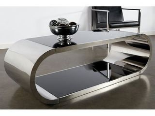 Statements By J Pia Modern Steel and Glass Coffee Table  Retail 809 49  Box 1 Of 3  2 Glass Panes ONlY  45x27
