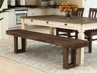 Furniture of America Treville Country Plank Style Dining Bench  Retail 345 49