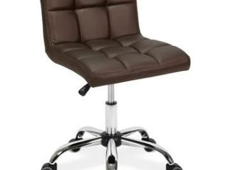 TOTO Home Office Button Tufted Desk Chair  Adjustable Height 19 25  Coffee  Retail 86 99