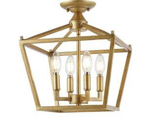 Plains lantern 4 light Iron Farmhouse lED Flush Mount by JONATHAN Y   Retail 99 99