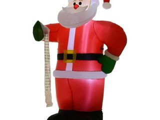 HOMCOM Airblown Inflatable Christmas Outdoor lighted Yard Decoration  Santa Claus with list  8  Tall