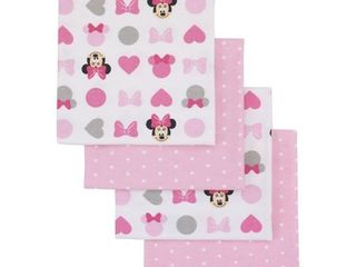 Disney Minnie Mouse Pink  White 4 Pack Flannel Receiving Blankets