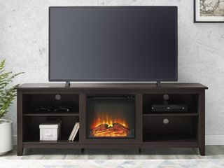 WE Furniture Wood TV Stand with Fireplace  70  Espresso