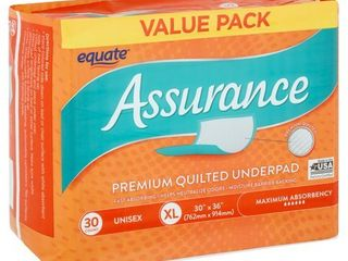 Equate Assurance Maximum Absorbency Unisex Premium Quilted Underpad Value Pack  Xl  30 count