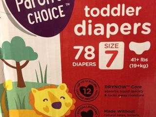 Parents Choice Dry and Gentle Toddler Diapers   Size 7   78 count