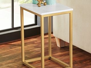 Mainstays End Table  White Top with Gold Frame
