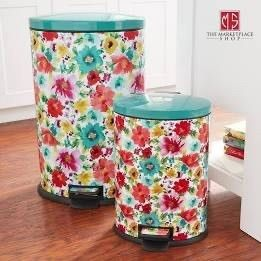 Pioneer Woman 10 5 gal   40l Stainless Steel Breezy Blossom Oval Kitchen Trash Can