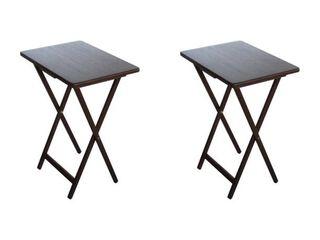 Mainstays  2 Pack  Folding TV Tray Table Set in Walnut