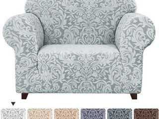Subrtex 1 Piece Jacquard Damask Stretch Armchair Slipcovers  light Smoky Gray