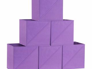Household Essentials Diagonal Pull Collapsible Fabric Cube Open Storage Cube  6pk  Purple