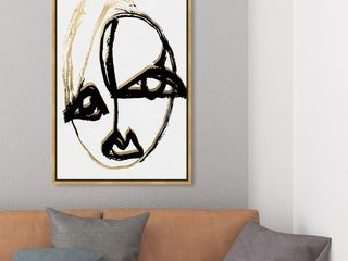 Oliver Gal  abstract Portrait II  Abstract Wall Art Framed Canvas Print Paint   Black  White   24 x 36   Gold