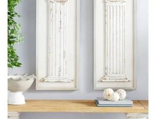 large Rectangular Distressed Antique White Wood Wall Decor with Carved Greek Columns Set of 2 16  x 43  Each