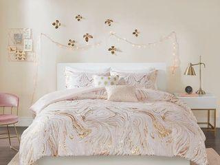 Intelligent Design   Natalia Metallic Printed Comforter Set  Queen