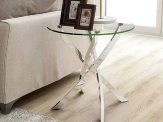 Furniture of America Dess Modern Chrome X cross Round End Table