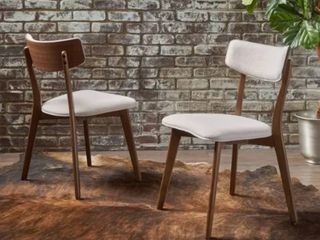Chazz Mid century Dining Chair by Christopher Knight Home  Set of 2    light Beige   Natural Walnut