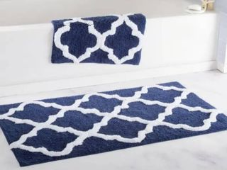 Windsor Home 100 Percent Cotton 2 Piece Trellis Bath Rug Set   Blue