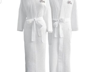 Conrad Egyptian Cotton His   Hers Waffle Spa Robe Set  Gift Packaging