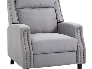 HOMCOM Reclining Sofa Chair Padded Seat lounger with Extendable Footrest  Grey