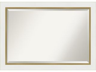 Porch   Den Katherine White and Gold Bathroom Vanity Wall Mirror