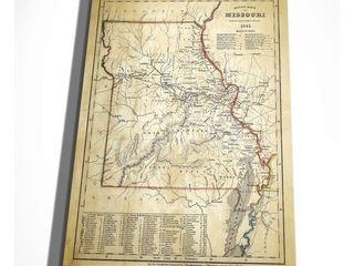 Antique Map Missouri II   Premium Gallery Wrapped Canvas