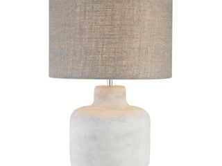 ElK Home Rockport 8 in Polished Concrete Table lamp with Burlap Shade