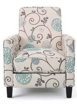 Christopher Knight Home   Darvis Contemporary Fabric Recliner  light Beige with Blue Floral   Dark Brown