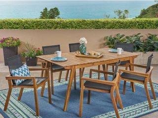 Christopher Knight Home Copperfield Outdoor Acacia Wood Chairs with Mesh Seats  set of 2