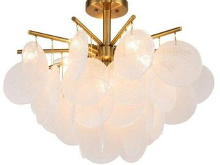 antique brass metal flush mount with frosted glass accents