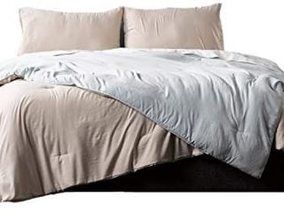 Ella Jayne Home Collection Reversible Brushed Microfiber Down Alternative Comforter Set  Seafoam linen  King  3 Piece
