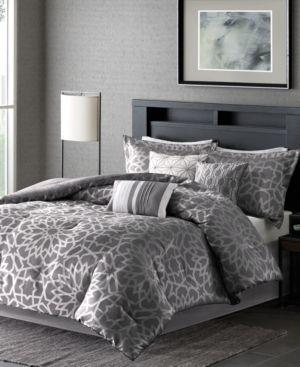 7 Piece luxury Comforter Set in Grey Geometric Floral Print  King