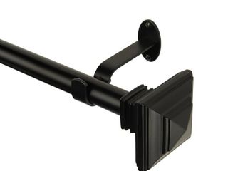FlORENCE 86 120  CURTAIN ROD WITH STACKED SQUARE FINIAl