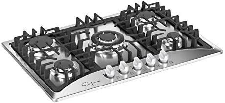 Empava 30  Gas Stove Cooktop with 5 Italy Sabaf Sealed Burners NG lPG Convertible in Stainless Steel  30 Inch  Silver