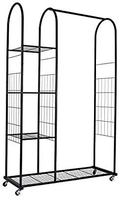 Mythinglogic Heavy Duty Clothing Garment Rack  Commercial Grade Clothes Rack with Wheels  Rolling Closet Organizer with 3 Tier Storage Shelves