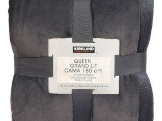 Kirkland Signature Plush Blanket Queen Grey