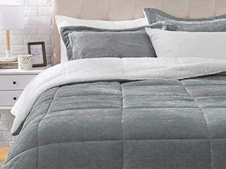 BHF Easton Sherpa Fleece 3 Piece Comforter Set  QUEEN Size Grey