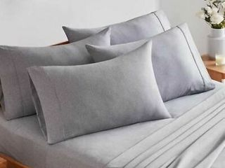 CMA Charisma Microfiber 6 Pc Gray Queen Sheet Set   Grey Heather   Solid