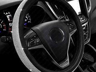 New Diamond leather Steering Wheel Cover with Bling Bling Crystal Rhinestones  Universal Fit 15 Inch Car Wheel Protector for Women Girls Black