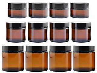 Combo Pack of 1  2   4 Ounce Amber Glass Straight Sided Jars  4 Each   12 Total  Great Containers for Cosmetics  lotions  Body Scrubs   Balms