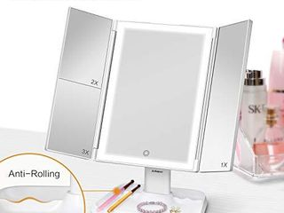 Makeup Mirror Vanity Mirror with lights   3 Color lighting Modes 72 lED Trifold Mirror  Touch Control Design  1x 2x 3x Magnification  Portable High Definition Cosmetic lighted Up Mirror