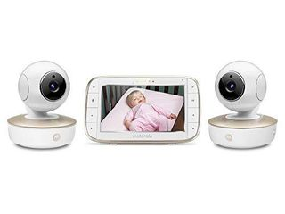 Motorola Video Baby Monitor   2 Wide Angle HD Cameras with Infrared Night Vision and Remote Pan  Tilt  Zoom   5 Inch lCD Color Display with Split Screen View  Room Temperature and Sound Alert MBP50 G2