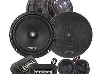 TORO TECH a F6K  6 5 Inch Component Car Speaker Set   200 Watt MAX   100 Watts RMS  13mm Ferro Fluid Tweeters  4 Ohm  1a KSV Voice Coils  Two Speakers  2 Tweeters  2 Crossovers  2 Grills Sold As Pair