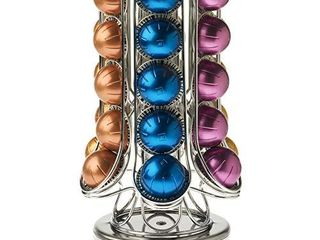 Peak Coffee Pod Holder for 30  Nespresso Vertuo Vertuoline Pods  Extra Storage Available Inside Carousel a Capsules Storage Organiser 360A Rotating Rack Stand for Nespresso a Non Slip   Anti Scratch