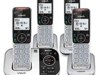 VTECH VS112 4 DECT 6 0 Bluetooth 4 Handset Cordless Phone for Home with Answering Machine  Call Blocking  Caller ID  Intercom and Connect to Cell  Silver   Black